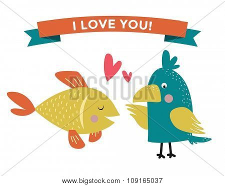 Cute cartoon animals couples fall in love banner vector illustration. Vector animals wedding. Different animals like people love togetherness concept. Vector animals, pets, wild. Parrot, fish , heart