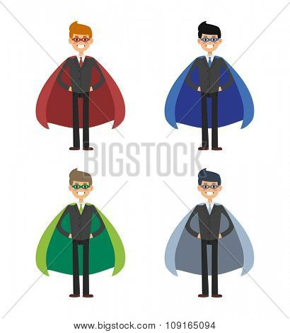 Superhero business man and business woman vector set. Super people in business illustration. Super hero in business situations, super hero in office life. Superhero flying, business success people