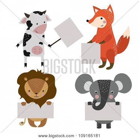 Wild animal zoo banner vector cartoon set. Wild vector animals. Jungle animals pets. Vector animals. Monkey and cow, fox, lion. Sea, forest animals holding banner. Vector animals. Animals isolated