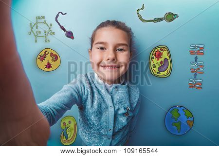 Self teen girl smiling happy icons biology education formation o
