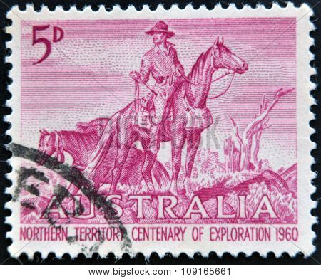 AUSTRALIA - CIRCA 1960: a stamp printed in Australia shows The Overlanders