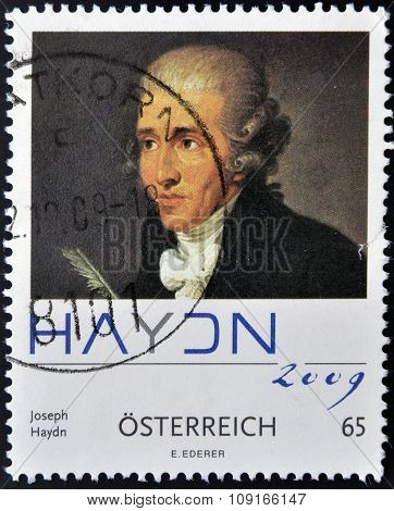 AUSTRIA - CIRCA 2009: A stamp printed in Austria shows Joseph Haydn