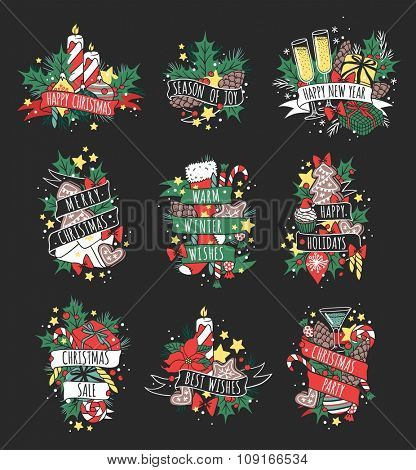 Vector Christmas greeting card illustration. Christmas Holidays lettering winter ribbons decoration. Hand draw New Year greeting card. Christmas greeting card. Christmas holiday greeting cards poster