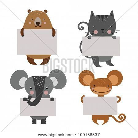 Wild animal zoo banner vector cartoon set. Wild vector animals. Jungle animals pets. Vector animals. Monkey and cat, bear, lion. Sea, forest animals holding banner. Vector animals. Animals isolated