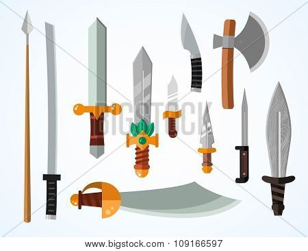Knifes weapon collection. Vector illustration of swords, knifes, axe, spear. Edged weapons vector weapon set. Vector knife, knife isolated, knifes silhouette. Game weapon knifes vector set. Knife icon
