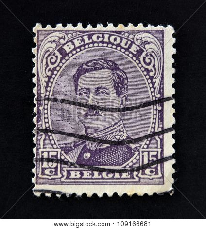 BELGIUM - CIRCA 1919: A stamp printed in Belgium shows image of King Albert I