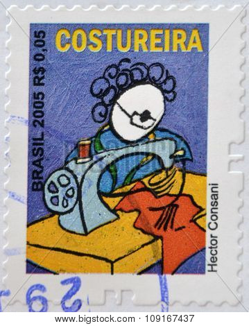 BRAZIL - CIRCA 2005: A stamp printed in Brazil shows a seamstress by Hector Consani circa 2005