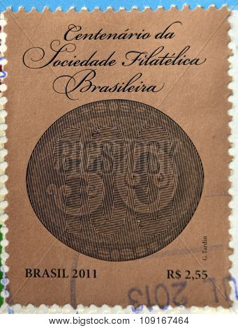 BRAZIL - CIRCA 2011: stamp printed in Brazil dedicated to centenary of Brazilian Philatelic Society