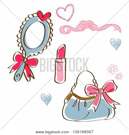 beauty icons - clip art - mirror , lipstick, bag
