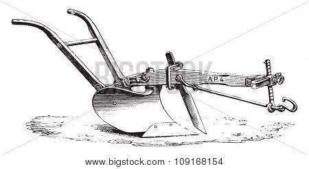 American plow Eckert, vintage engraved illustration. Industrial encyclopedia E.-O. Lami - 1875.