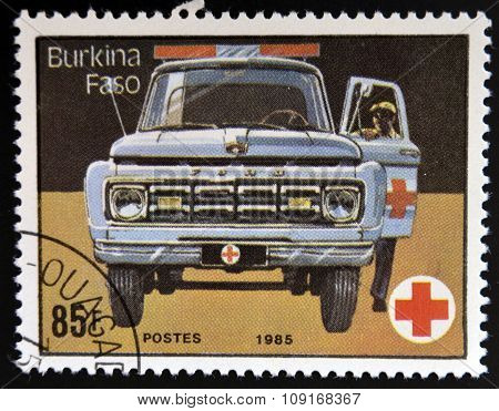 BURKINA FASO - CIRCA 1985: stamp printed byin Burkina Faso shows Ambulance circa 1985