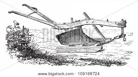 Dombasle plow in plow on his sled, vintage engraved illustration. Industrial encyclopedia E.-O. Lami - 1875.