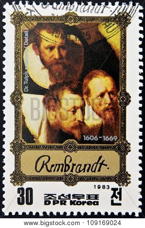 DPR KOREA - CIRCA 1983: A stamp printed in North Korea shows Anatomy lesson by Rembrandt circa 1983