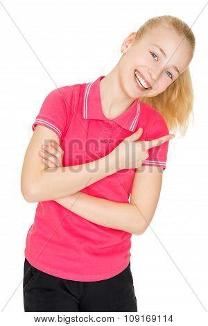 Girl shows finger