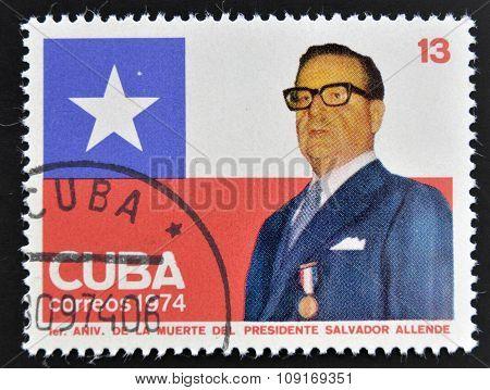 CUBA - CIRCA 1974: A stamp printed in Cuba shows Salvador Allende circa 1974