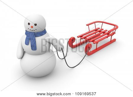 Snowman goes to ride on red sled