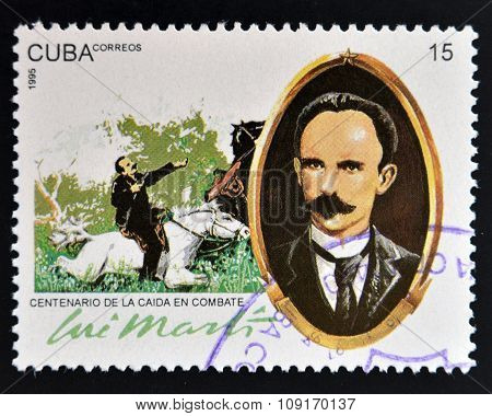 CUBA - CIRCA 1995: A stamp printed in Cuba shows Jose Marti circa 1995