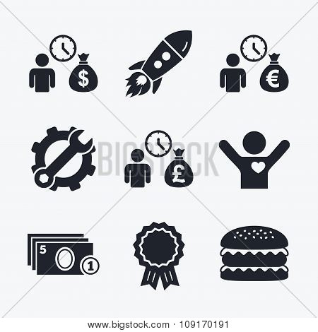 Bank loans icons. Cash money symbols.