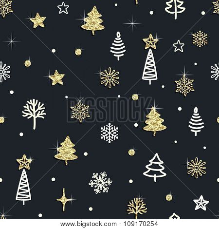 Seamless Christmas background with trees, Christmas trees, stars and snowflakes of golden foil.