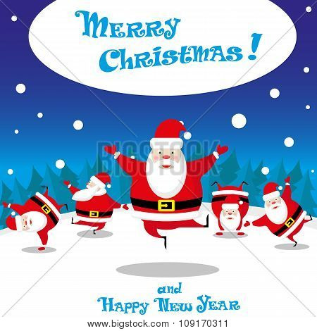 Vector Banner Funny Santa Claus Dancing On Background Night Wood With Hand Drawn Text Merry Christma
