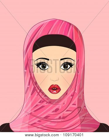 Portrait Of Beautiful Muslim Girl In Patterned Hijab, Flowers Pattern