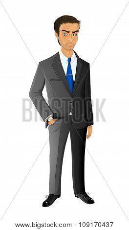Attractive Male Businessman Standing In Confident Pose, Vector