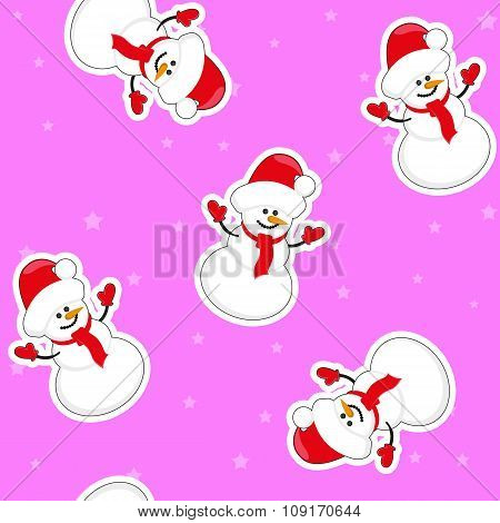 Vector Seamless Christmas Background: Snowman In Santa Hat On Backgroung With Stars