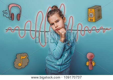 Teen girl lost in thought offended person hand on the chin music