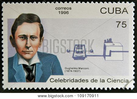 CUBA - CIRCA 1996: a stamp printed in Cuba shows an image of Guglielmo Marconi inventor of radio