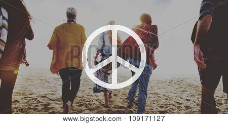 Friendship Bonding Relaxation Summer Beach Peace Concept