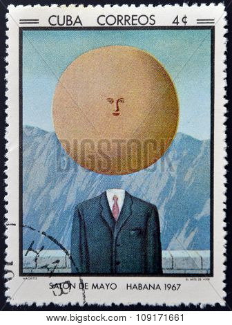 Stamp printed in Cuba commemorative to May Salon 1967 shows The Art of Living by R. Magritte