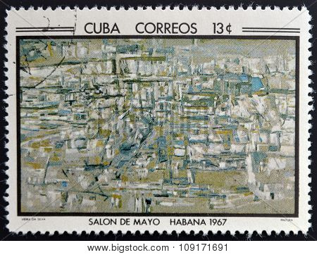 Stamp printed in Cuba commemorative to May Salon 1967 shows Painting by Vieira de Silva
