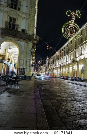Light and Art in via Po in Turin, Italy