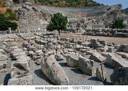Ruined City Of Ephesus In Turkey, Founded On 10Th Century Bc.