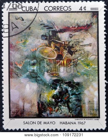Stamp printed in Cuba commemorative to May Salon 1967 shows Sower of Fires by Matta