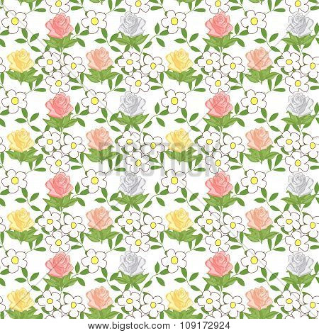 Seamless pattern with cartoon daisies and roses.