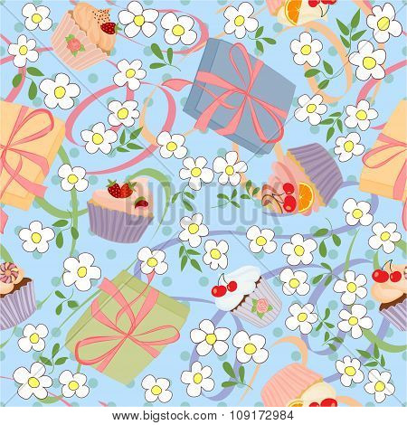 Seamless pattern with gifts, cupcakes and cakes.