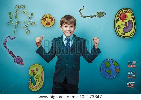 Teenage boy laughing and showing his arms strength businessman i