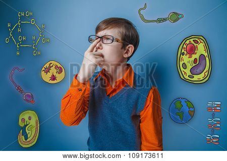 Teenage boy looking up retro style sunglasses corrects finger sc