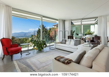 Interior of a modern house, beautiful bright living room