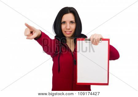 Woman in sports concept on white background