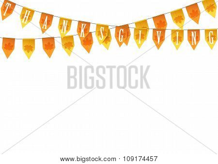 Thanksgiving buntings garlands isolated on white background.