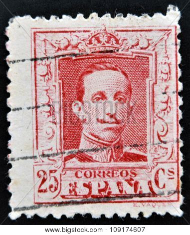 SPAIN - CIRCA 1920: A stamp printed in Spain shows King Alfonso XIII circa 1920