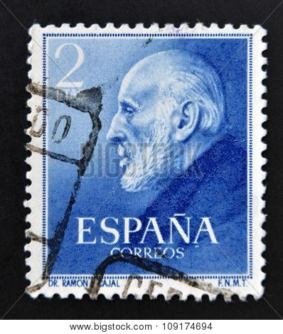 SPAIN - CIRCA 1952: A stamp printed in Spain shows Nobel Award Santiago Ramon y Cajal circa 1952