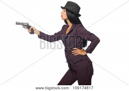 Gangster woman with gun isolated on white