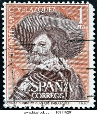 A stamp printed in Spain shows Portrait of the Count-Duke of Olivares by Velazquez
