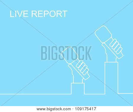Newspaper or hot news template with hands of journalists holding microphones. Line style