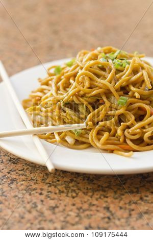 Delicious chinese food vegetable Lo Mein stir fry