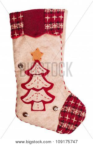 Santa's Stocking. Concept Of Christmas Or Holiday. Christmas Sock Isolated On White Background