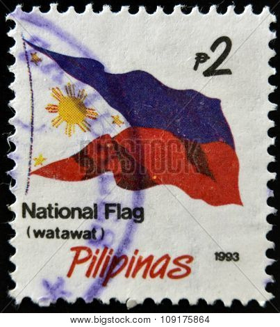 PHILIPPINE - CIRCA 1993: A stamp printed in Philippine shows flag circa 1993